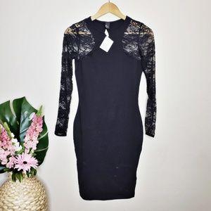 H&M Black Lace Long Sleeve Bodycon Dress NWT